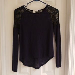 Abound navy and black lace blouse